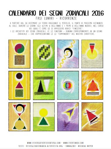 Calendario Zodiaco.Calendario 2016 Segni Zodiacali Le 12 Notti Verticale